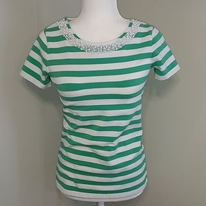 Talbots Green Stripe Bead Short Sleeve Top SP